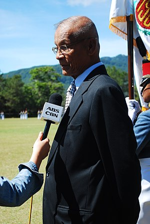 Rodolfo Biazon - Rodolfo Biazon being interviewed by an ABS-CBN news reporter at the Philippine Military Academy in Baguio City
