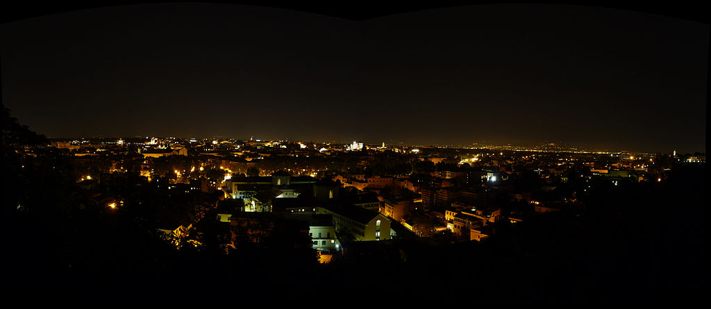 Rome from Gianicolo Hill by night