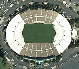 A satellite view of the Rose Bowl stadium