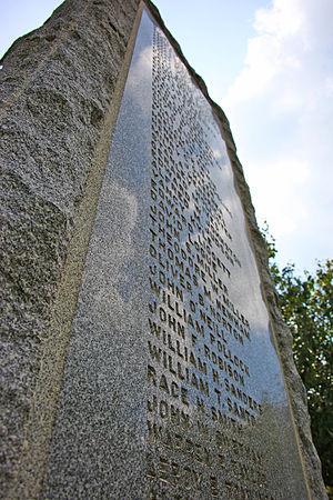 Rough Riders Memorial - North panel of the memorial, showing names of the dead.