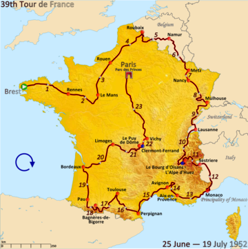 Route of the 1952 Tour de France Followed clockwise, starting in Brest and finishing in Paris