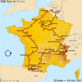 1963 Tour de France - Route of the 1963 Tour de France