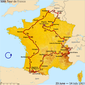 Route of the 1963 Tour de France