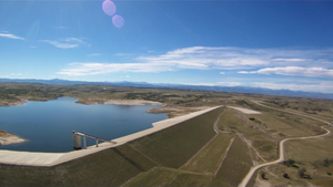 Rueter–Hess Reservoir - Aerial view of the Rueter–Hess dam and reservoir in September 2013, captured by a radio-controlled airplane