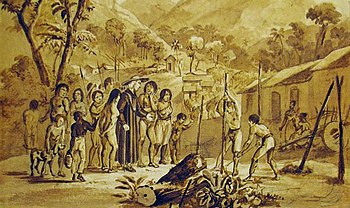 "An image depicting a village of indigenous people in Brazil referred to as ""tapuyos,"" who have been described as a detribalized population."