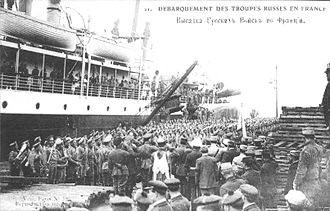 Russian Expeditionary Force in France - Russian troops arriving in Marseille on the steamship Himalaya