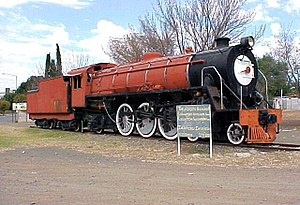 Theunissen - SAR Class 16DA no. 850 plinthed in Theunissen 29 May 2005
