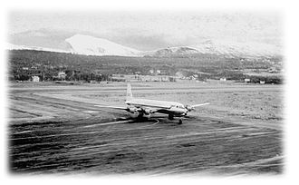 Tromsø Airport, Langnes - Scandinavian Airlines System Douglas DC-7 at Tromsø on 8 October 1965.