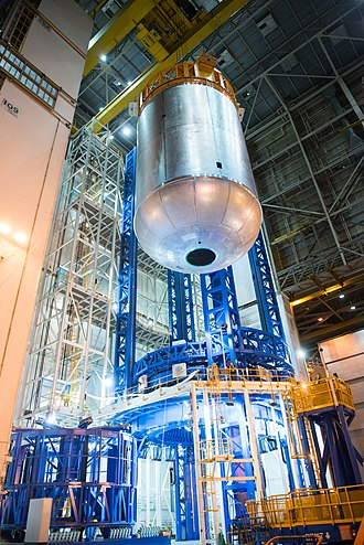 Michoud Assembly Facility - Welding of the SLS liquid oxygen tank in the South Vertical Assembly Building