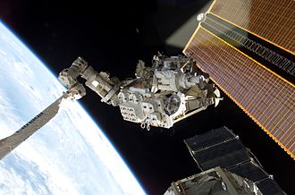 Canadian Space Agency - The Mobile Base System just before Canadarm2 installed it on the Mobile Transporter during STS-111