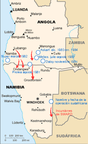 SWAPO and SA operations 1981-1984, Angola civil war es.png