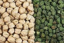 Two varieties of chickpea: the larger light tan Kabuli and variously coloured Desi chickpea. They are green when picked early and vary through tan or beige, speckled, dark brown to black. 75% of world production is of the smaller desi type. The larger garbanzo bean or hoummus was introduced into India in the 18th century.