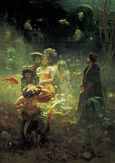 Many generations of Slavic artists were inspired by their national folklore. Illustrated above is Ilya Yefimovich Repin's Sadko in the Underwater Kingdom (1876).