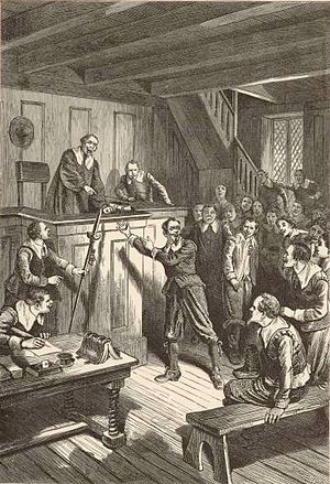 Samuel Gorton - 19th century depiction of Gorton on trial in Portsmouth