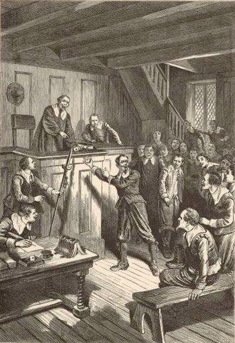 Samuel Gorton - 19th century depiction of Gorton on trial in Portsmouth