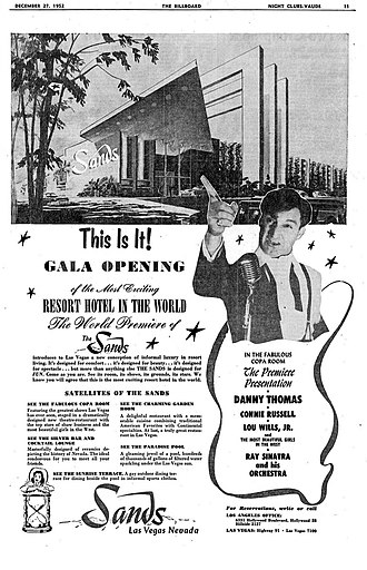 Sands Hotel and Casino - Advert for the opening in 1952