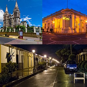 From top, left to right: Iglesia El Carmen, Palacio Municipal de Santa Tecla, Paseo El Carmen.