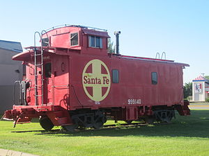 Colfax County, New Mexico - Former Atchison, Topeka, and Santa Fe Railroad car displayed at Raton