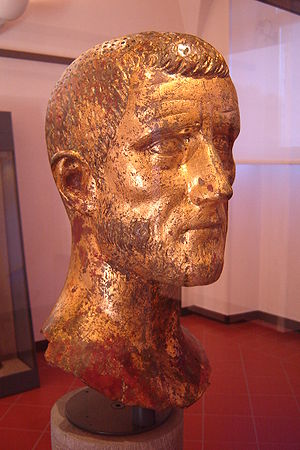 The first one of the two twin bronze busts of ...