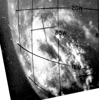1962 Atlantic hurricane season - Satellite picture of the Caribbean tropical depression over Central America from October 4, 1962, at 1348z