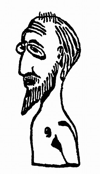 Erik Satie - Sketch for a bust of himself, by Satie, 1913