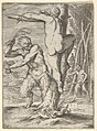 Satyr whipping a nymph, who is shown from behind and bound to a tree, a second satyr bearing a club stands in the middle ground MET DP832182.jpg