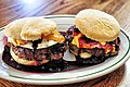 Sausage egg with cheese hamburger in home.jpg