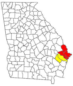 Map outlining the Savannah–Hinesville–Statesboro CSA