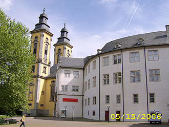 Bad Mergentheim - Deutschordensschloss - interior including Deutschordensmuseum and towers of the Schlosskirche.