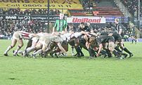 A rugby union scrum.