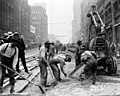 Seattle - Workers repaving Second Avenue at Columbia, 1914 (48593041127).jpg