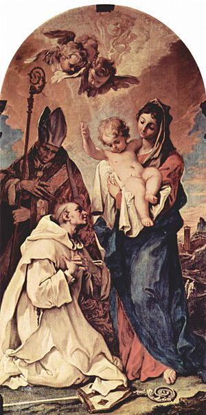 Carthusians - Painting by Sebastiano Ricci (1659-1734) depicting the founder of the Carthusians, Bruno of Cologne (c1030-1101), revering the Mary, mother of Jesus and adoring the Christ Child, with Hugh of Lincoln (1135-1200) looking on in the background.