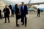 Secretary Kerry Chats With U.S. Ambassador Hamamoto Upon Arrival in Geneva for Meetings Focused on Syria (26690940431).jpg