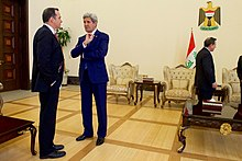 Secretary Kerry Shakes Hands With Special Presidential Envoy for the Global Coalition to Counter ISIL McGurk Before Meetings With Iraqi Officials in Baghdad (26305576535).jpg