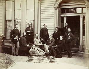 Alfred Richard Cecil Selwyn - Selwyn (seated at centre) and his field party, during their 1871 survey of British Columbia