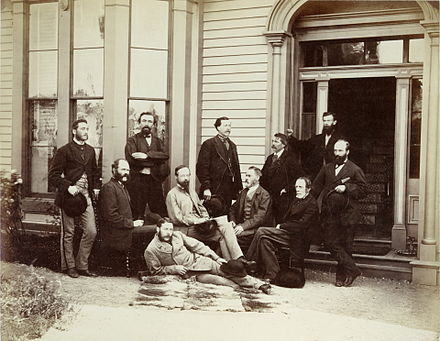 The First Canadian Pacific R.R. and Geological Survey parties for British Columbia, July 22, 1871. Photographer: Benjamin F Baltzy. Courtesy: Toronto Public Library Digital Collections Selwyn GSC survey party 1871.jpg