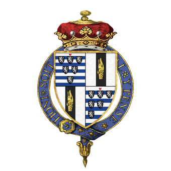Shield of arms of Robert Gascoyne-Cecil, 3rd Marquess of Salisbury, KG, as displayed on his Order of the Garter stall plate in St. George's Chapel. Shield of arms of Robert Gascoyne-Cecil, 3rd Marquess of Salisbury, KG, GCVO, PC, FRS, DL.png