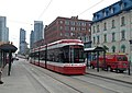 Side-rear view of a Toronto Bombardier LRV on Spadina, 8-31-2014.jpg