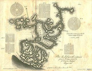 Plan des Höhlensystems von Franz Sieber (1821). Die Labyrinthmuster stammen von antiken Münzen, nicht aus der Höhle.