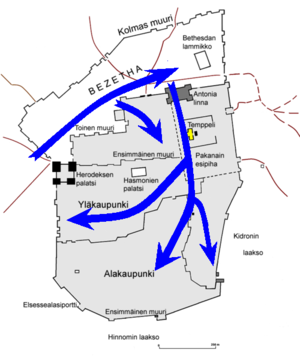 Siege of Jerusalem (AD 70) - Map indicating progress of the Roman army during the siege