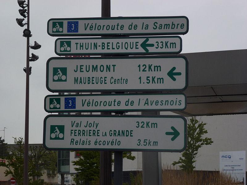 Signalisation véloroutes à Maubeuge