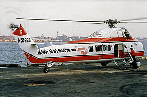 East 34th Street Heliport - Sikorsky S-58 of New York Helicopter at 34th Street when operating a schedule to New York JFK in 1987