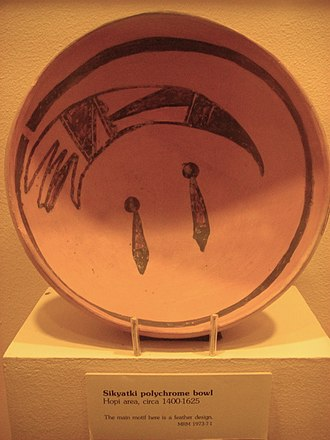 Hopi mythology - Sikyatki bowl  from the ruins of  Sikyátki, circa 1400-1625 AD. Painting of a feather, perhaps a clan symbol?