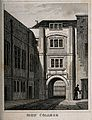 Sion College, London Wall, London; the gatehouse, with a man Wellcome V0013077.jpg