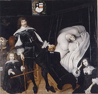 Sir Thomas Aston, 1st Baronet - Sir Thomas Aston, 1st Baronet at the deathbed of his first wife, painted by John Souch (c. 1593–1646)