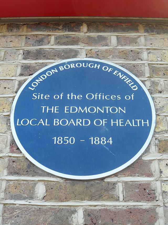 Blue plaque № 6466 - Site of the Offices of  The Edmonton  Local Board Of Health  1850 – 1884