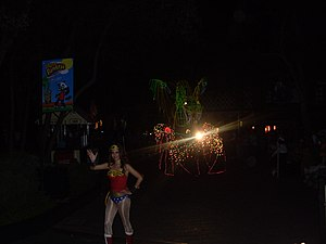 Six Flags México - Wonder Woman and Chinese dragon car from Magic Light Parade.