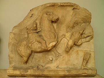 Slab from the Amazonomachy frieze from the Mausoleum at Halikarnassos, Mausoleum at Halicarnassus, British Museum (8244592181).jpg