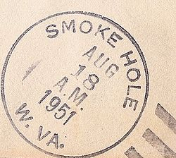 Postmark from Smoke Hole, West Virginia