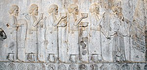 Sogdia - Sogdians on an Achaemenid Persian relief from the Apadana of Persepolis, offering tributary gifts to the Persian king Darius I, 5th century BC